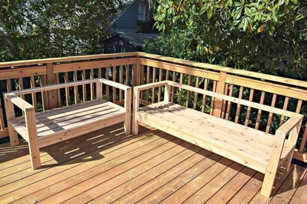 DIY outdoor loveseat and sofa unstained on deck