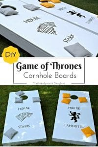 Play a fierce battle of cornhole in your backyard with these DIY Game of Thrones cornhole boards! Full tutorial and source list at www.thehandymansdaughter.com