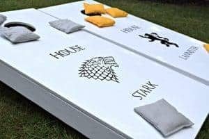 Have a fierce battle in the backyard with these DIY Game of Thrones cornhole boards! You can find the full tutorial and source list at www.thehandymansdaughter.com