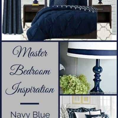 I'm dreaming of a master bedroom in soothing shades of navy blue and gray. Here are my picks for bedding, curtains and more! - The Handyman's Daughter