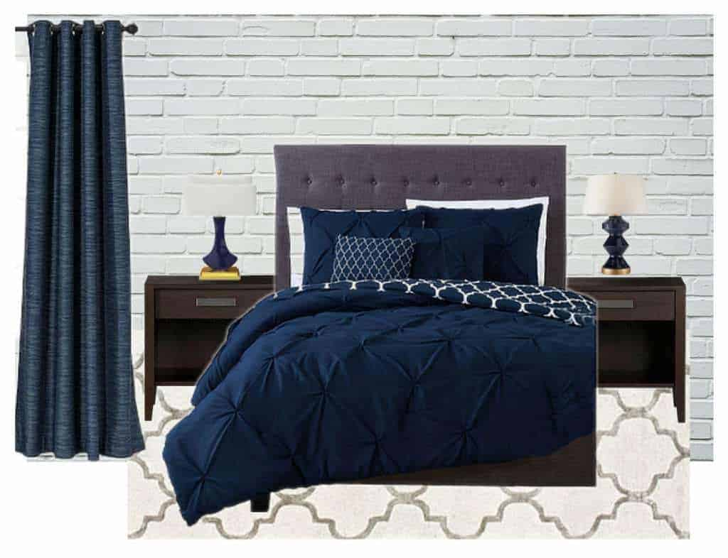 Navy Blue Bed Frame Navy Blue Headboard Bedding Set Navy Blue Pillow Covers Quilt Bed Runner