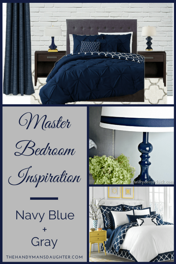 Collage Of Navy Blue And Gray Bedroom Inspiration Ideas