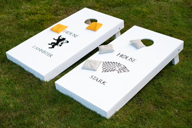 DIY cornhole boards with custom decals