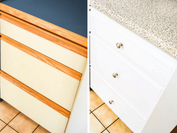 These kitchen drawers with grab bars were so hard to open! By adding new hardware, now they look clean and modern.