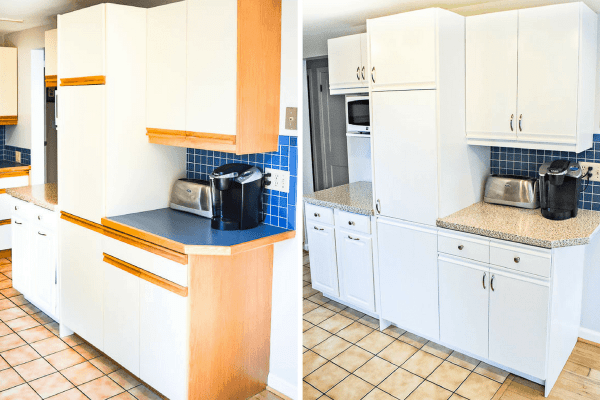 It's amazing how painting kitchen cabinets can change the entire look of a room! These 80s cabinets now look bright and modern!