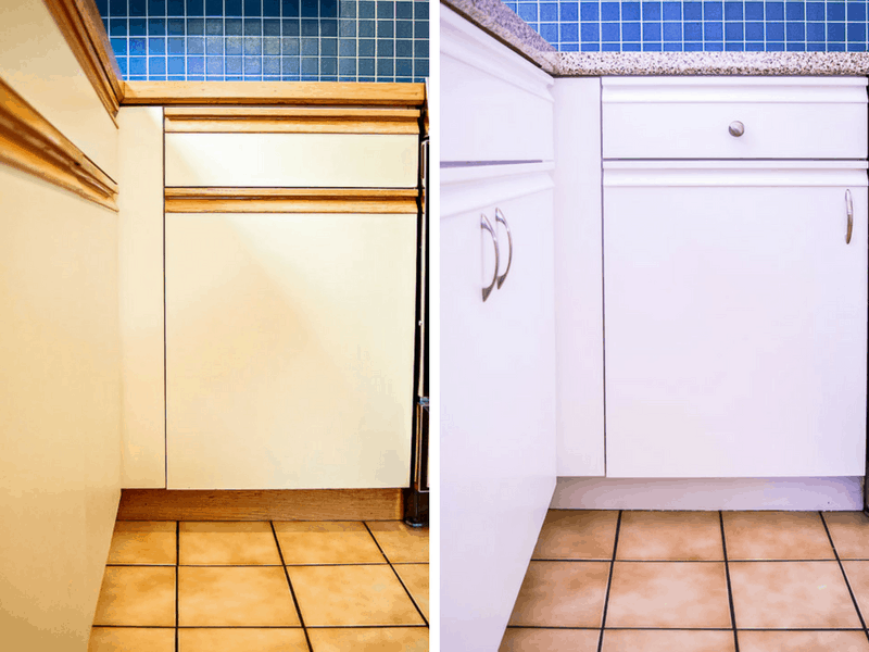 before and after photos of painted lower kitchen cabinets