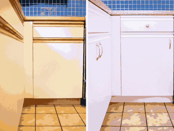 Look what some paint and new hardware did for these ugly 80s kitchen cabinets!