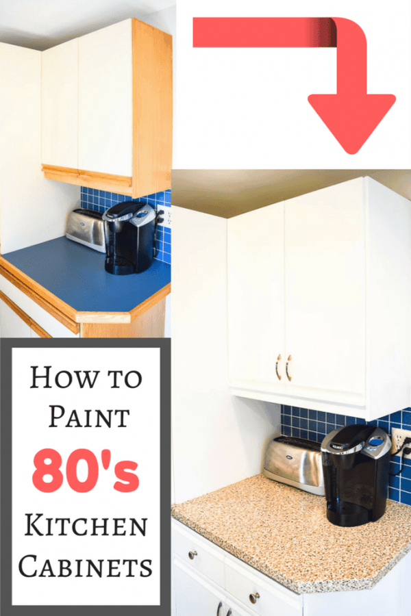 Postpone that kitchen remodel! I'll show you how to paint 80s kitchen cabinets so they look bright and modern! | kitchen makeover | kitchen ideas | budget kitchen | cheap kitchen makeover | melamine cabinets | cheap kitchen remodel