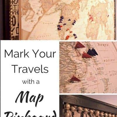 Transform a boring bulletin board into a gorgeous map pinboard. Mark your travels and relive your trip with each pin! - www.thehandymansdaughter.com