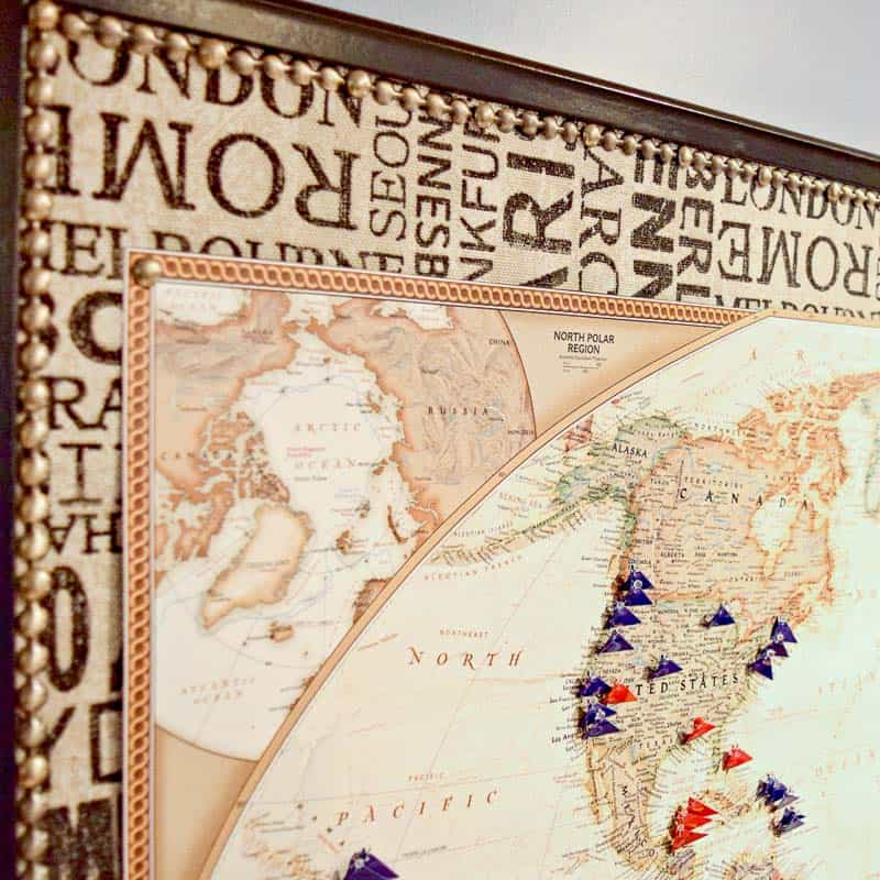 DIY push pin travel map square image