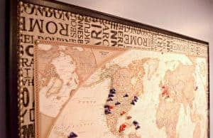 Transform a boring bulletin board into a gorgeous map pinboard! Full tutorial at www.thehandymansdaughter.com