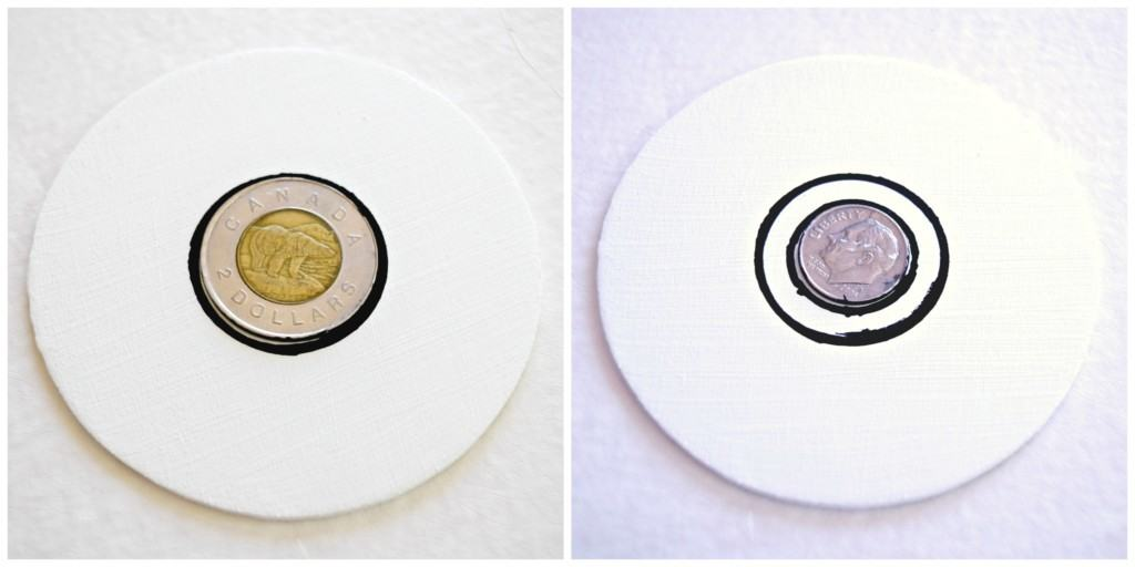 I traced two coins to get perfect concentric circles that will be colored in black to make the center of the pokeball - www.thehandymansdaughter.com