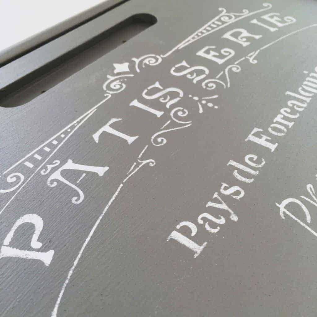 The French patisserie stencil on the bread box door was the perfect finishing touch! - www.thehandymansdaughter.com