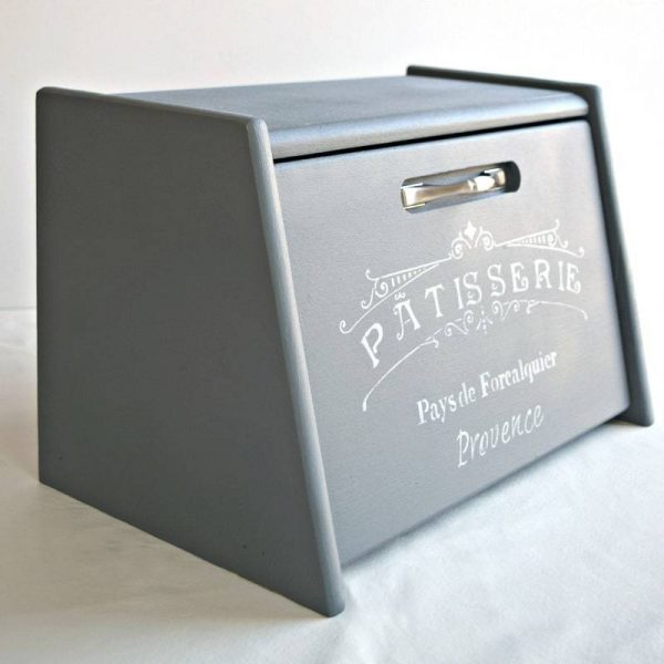 painted and stenciled bread box