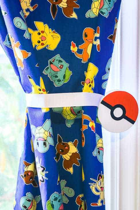 Pokemon themed curtains with pokeball magnetic curtain tie back