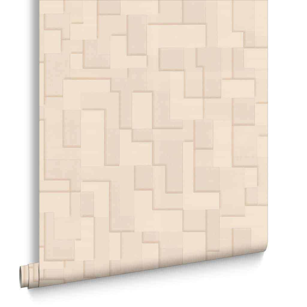 This beige checker wallpaper from Graham & Brown is amazing! It gives walls a three-dimensional effect that makes the perfect accent wall. - The Handyman's Daughter
