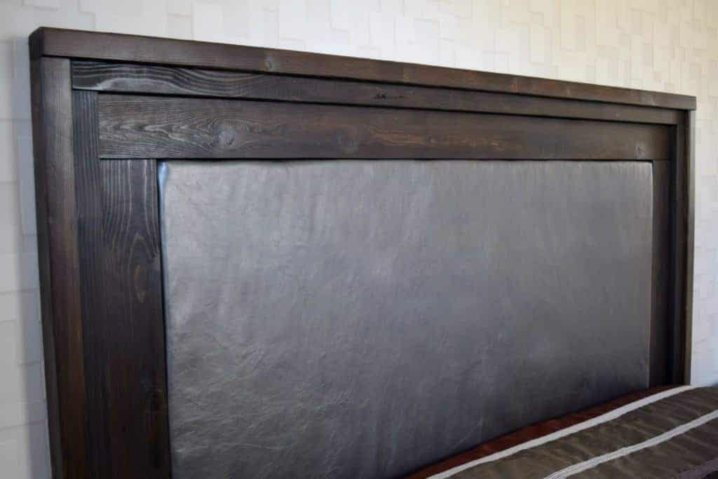 Get yourself some gorgeous leather and create your own upholstered leather headboard! Full tutorial at www.thehandymansdaughter.com