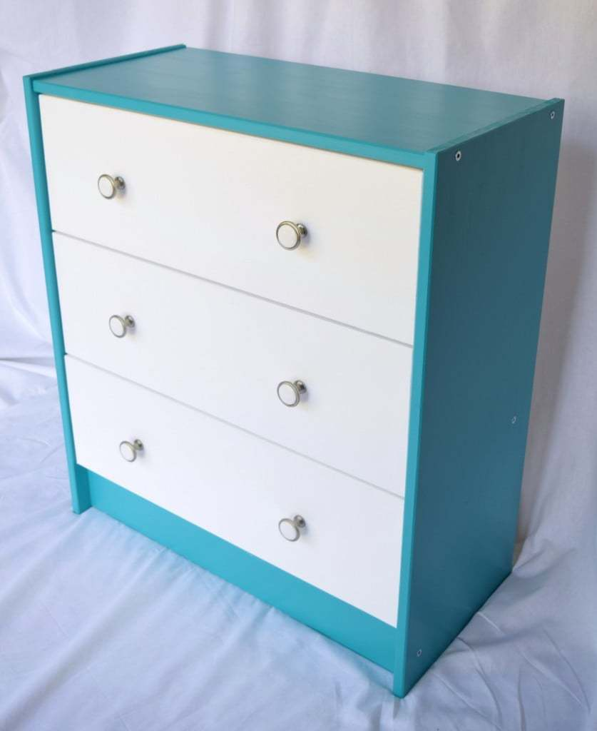 The IKEA Rast dresser can be transformed in so many ways! I chose a bright and cheerful color scheme that will give a pop of color to our basement office. - The Handyman's Daughter