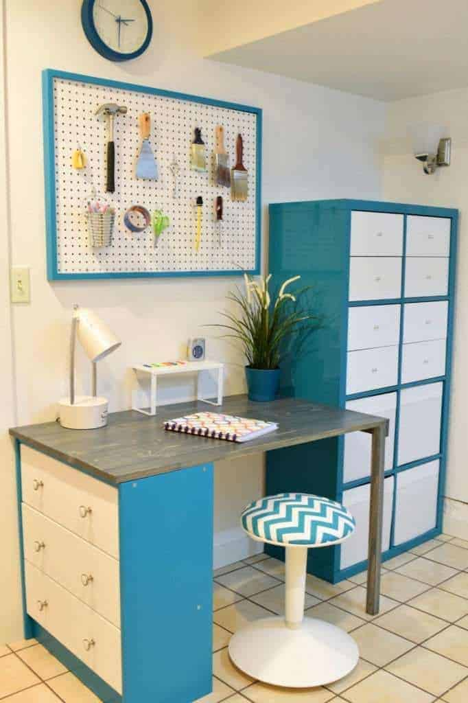 My office makeover took this space from drab to cheerful for under $100! See how I created this space at The Handyman's Daughter.