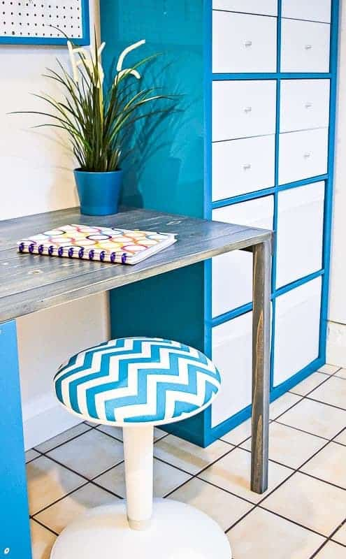 Turquoise and white office makeover
