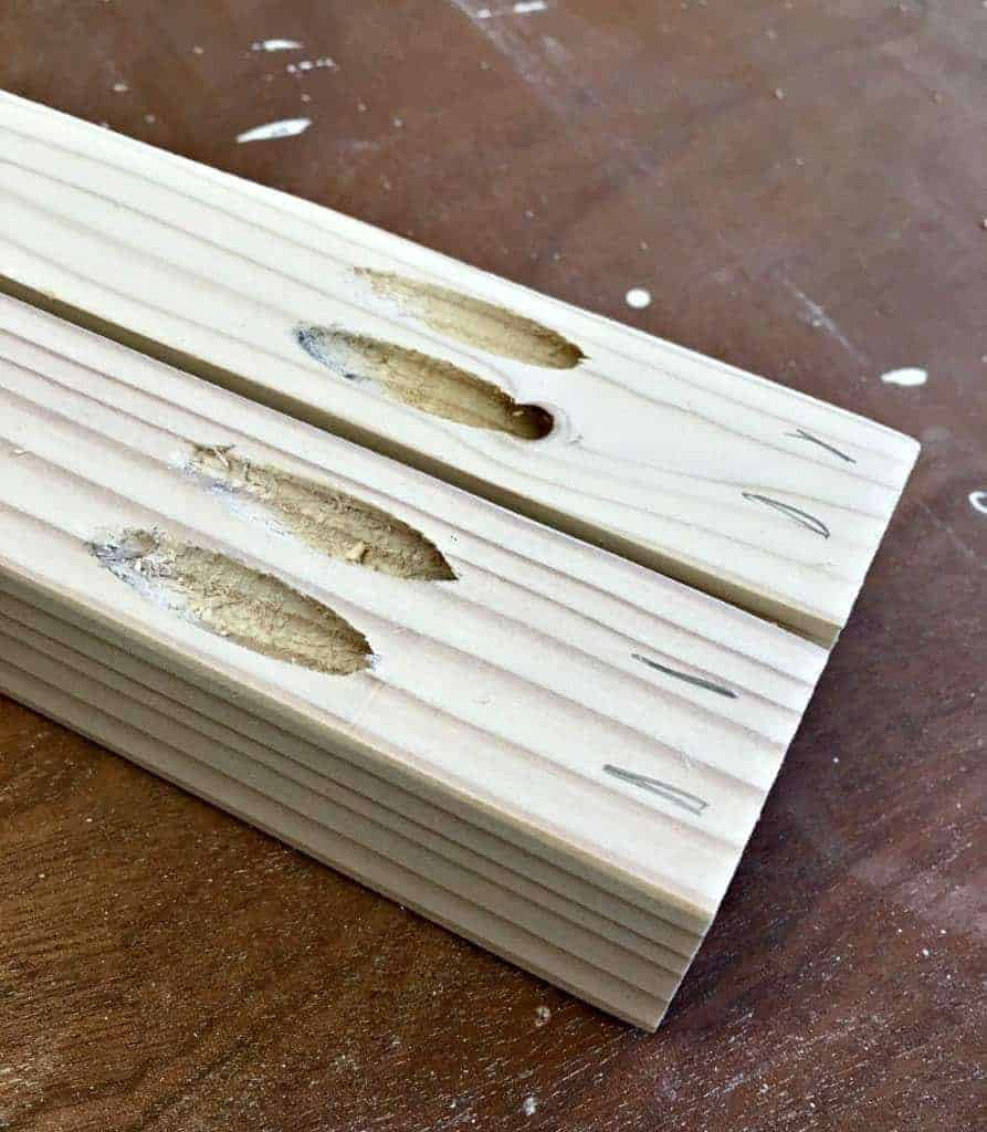 Drill pocket holes at the ends of each short 2 x 2 board - The Handyman's Daughter