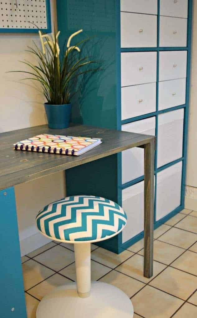 This old IKEA stool was reupholstered with a chevron fabric scrap left over from my sewing room curtains. - The Handyman's Daughter