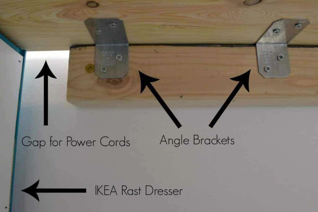 These angle brackets make it easy to attach the desk top to the wall securely - The Handyman's Daughter
