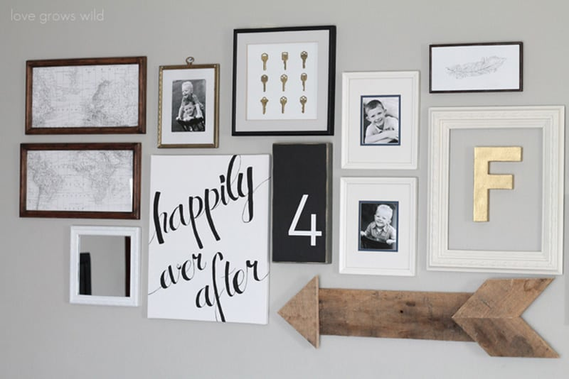 gallery wall with DIY arrow decor