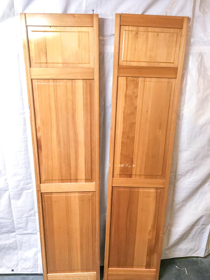 two wooden bifold doors