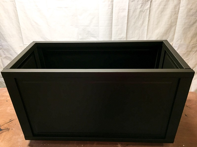 blanket storage box painted dark brown