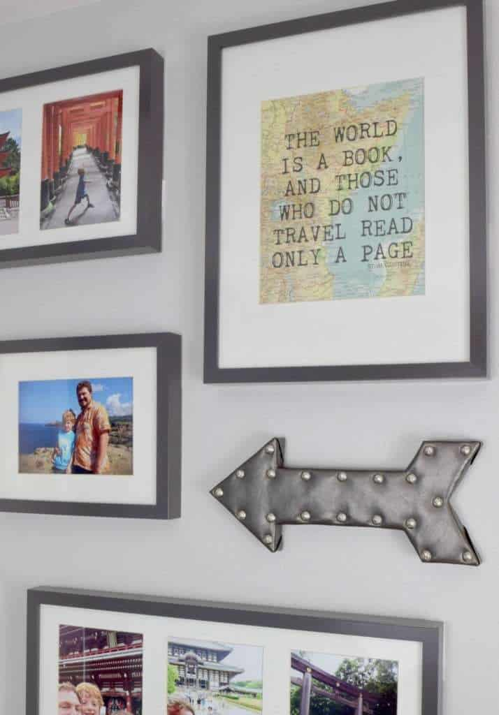 My DIY arrow wall decor goes perfectly with our travel themed gallery wall. See the full tutorial at The Handyman's Daughter!