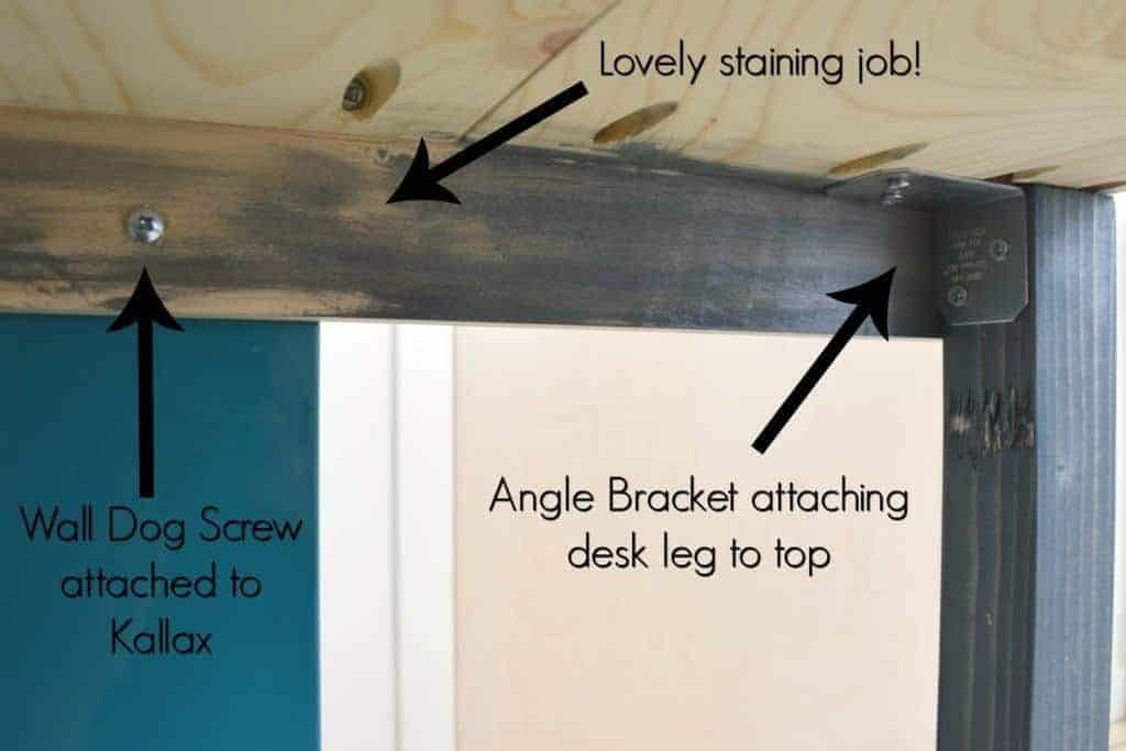 Here you can see how the desk top attaches to the Kallax in this easy IKEA desk hack - The Handyman's Daughter