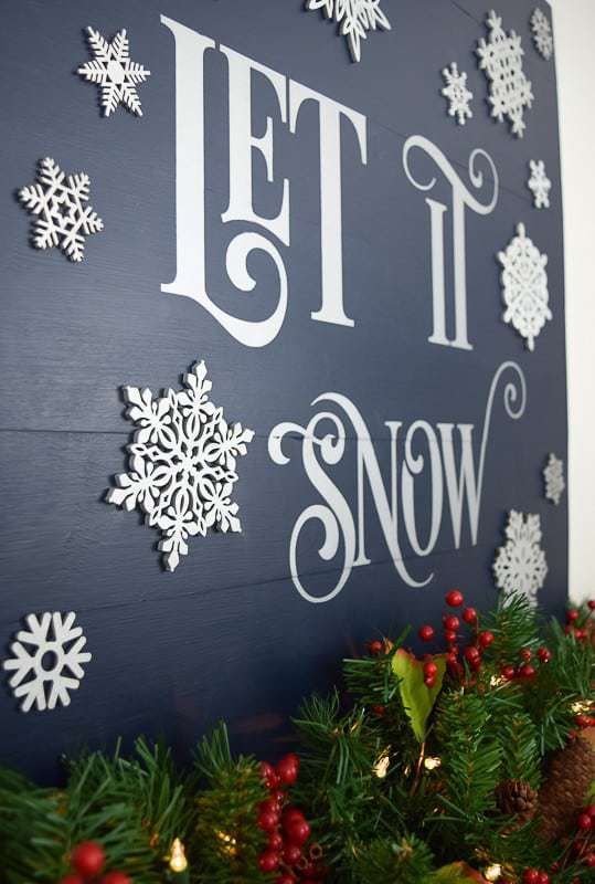 This Let is Snow sign is perfect for adorning your mantel or sideboard, and is