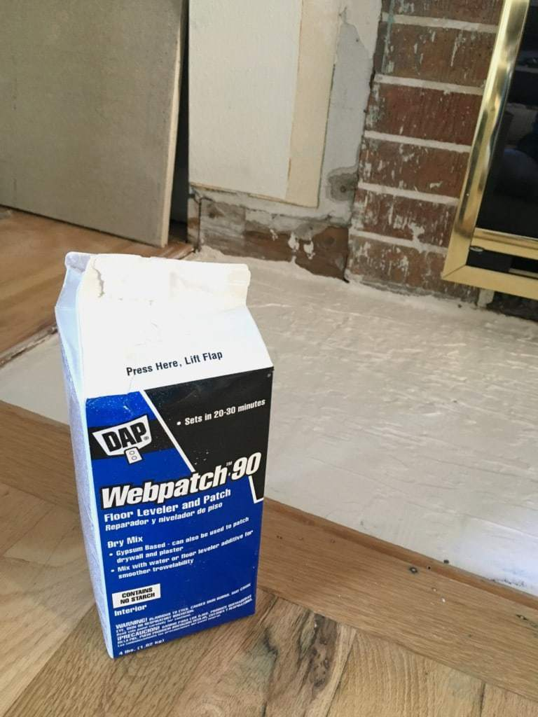 floor leveler in fireplace hearth area