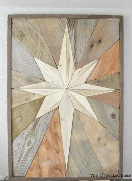Make this wood star mosaic for your mantel!