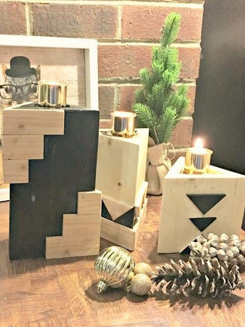 These geometric wood candle holders would look great in your home!