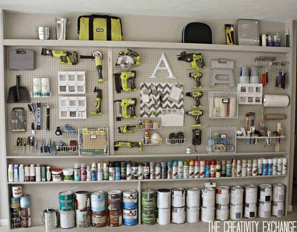 This pegboard setup from The Creativity Exchange is the ultimate in workshop organization!