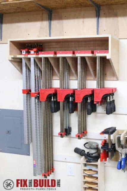 This clamp rack from Fix This Build That will be great for getting my workshop organized!