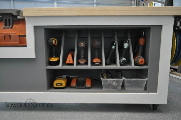 This drill storage unit by Sawdust 2 Stitches would be perfect for my workshop organization!