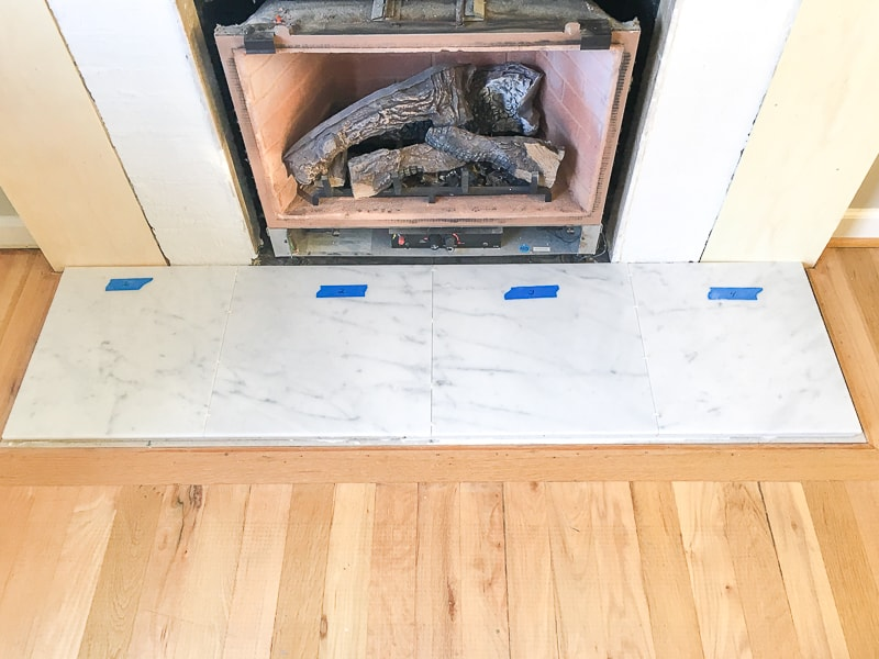 marble tile fireplace hearth layout