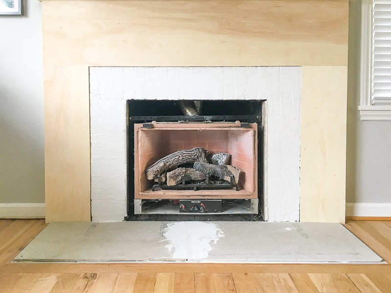 fireplace surround with plywood
