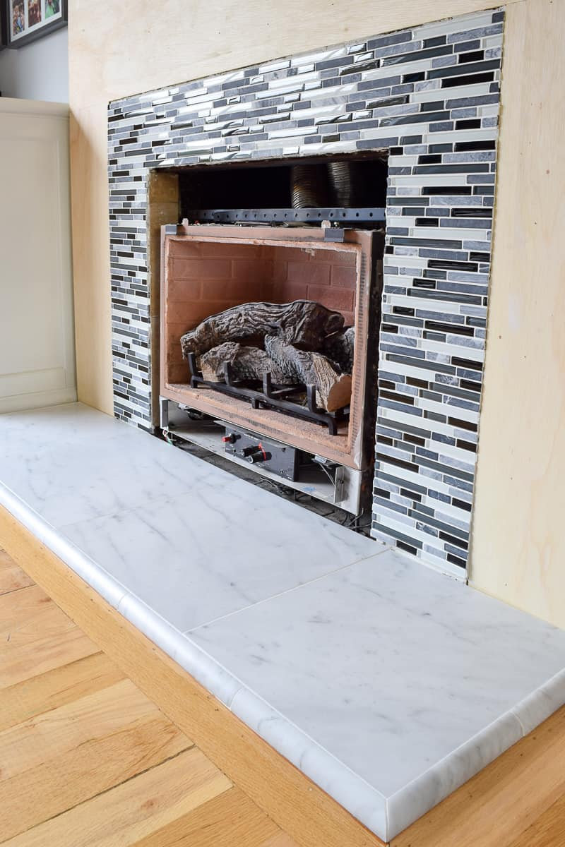 completed fireplace tile