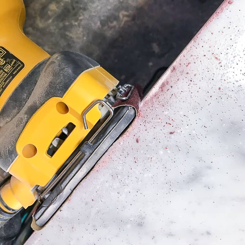 sanding marble tile cut edge