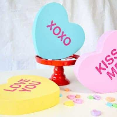 These giant conversation hearts are easy to make and are perfect for your Valentine's Day decor!