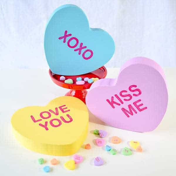 These giant conversation hearts are made of scrap wood, and are a sweet addition to your Valentine's Day decor.