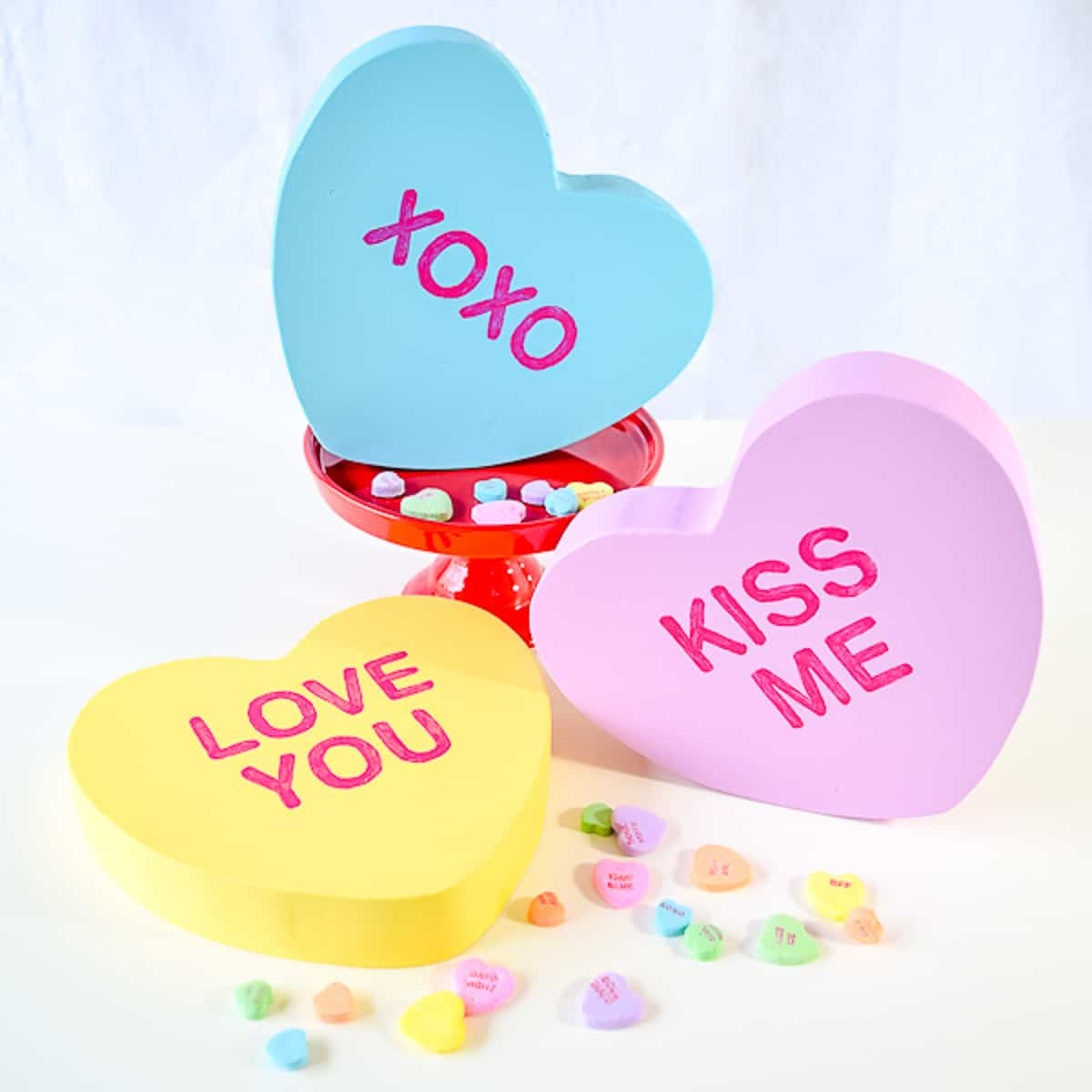 large wooden conversation hearts decorations