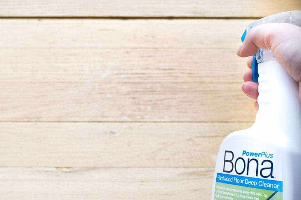 Just spray Bona PowerPlus deep cleaner on your hardwood floors and let it permeate the dirt.