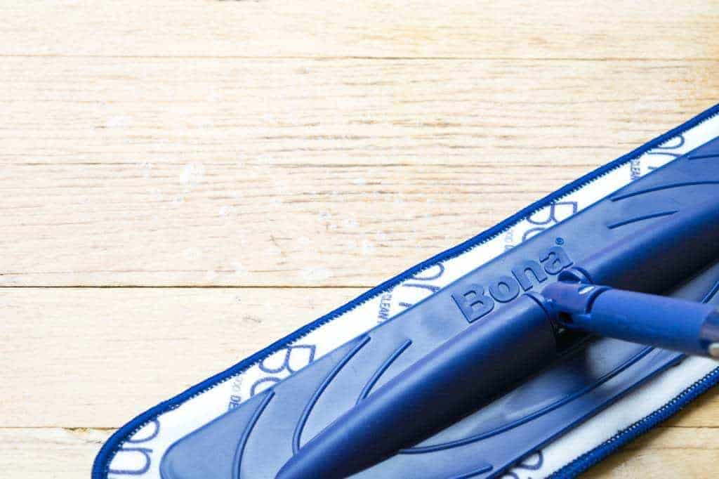 Wipe off the excess cleanser with the Bona PowerPlus microfiber cleaning pad to deep clean hardwood floors easily.