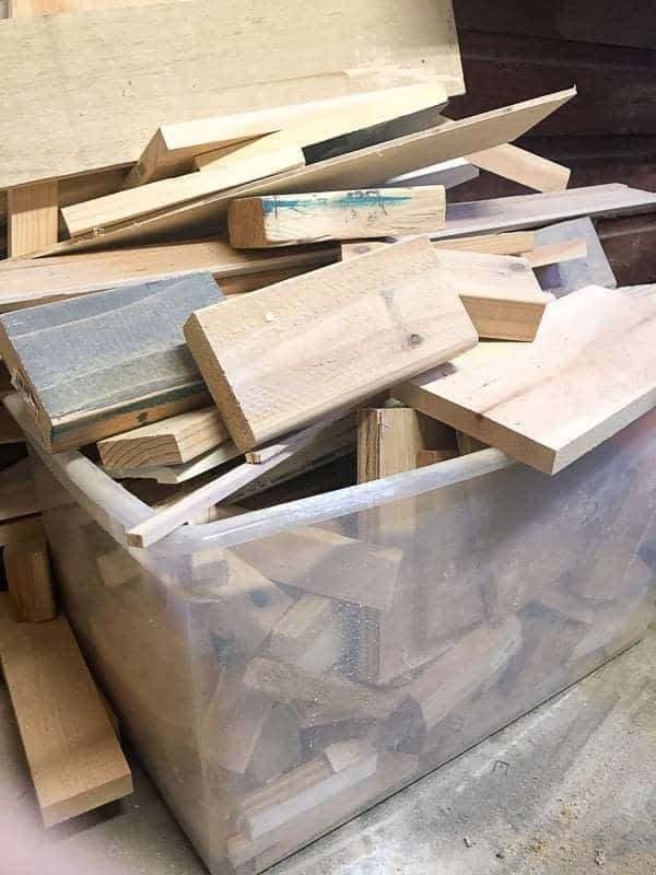 How am I supposed to find anything in this scrap lumber bin? I'll be building a new one that makes it easy to sort by size.