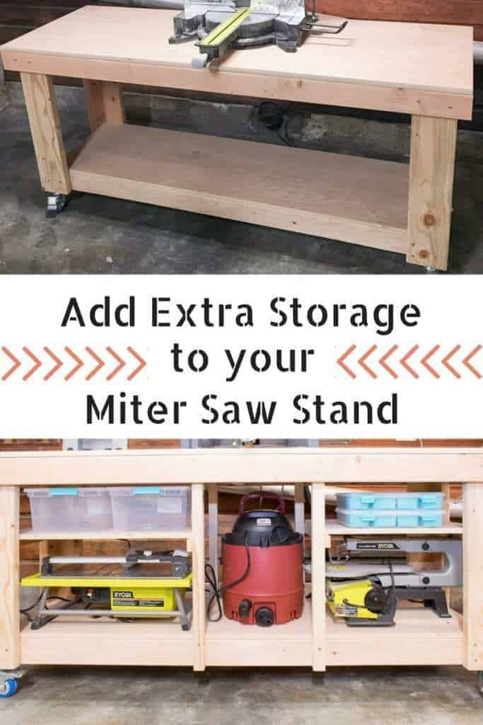 Take advantage of every inch of space in your miter saw stand! These simple shelves create so much storage!